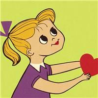 抱着一颗心的女孩图片